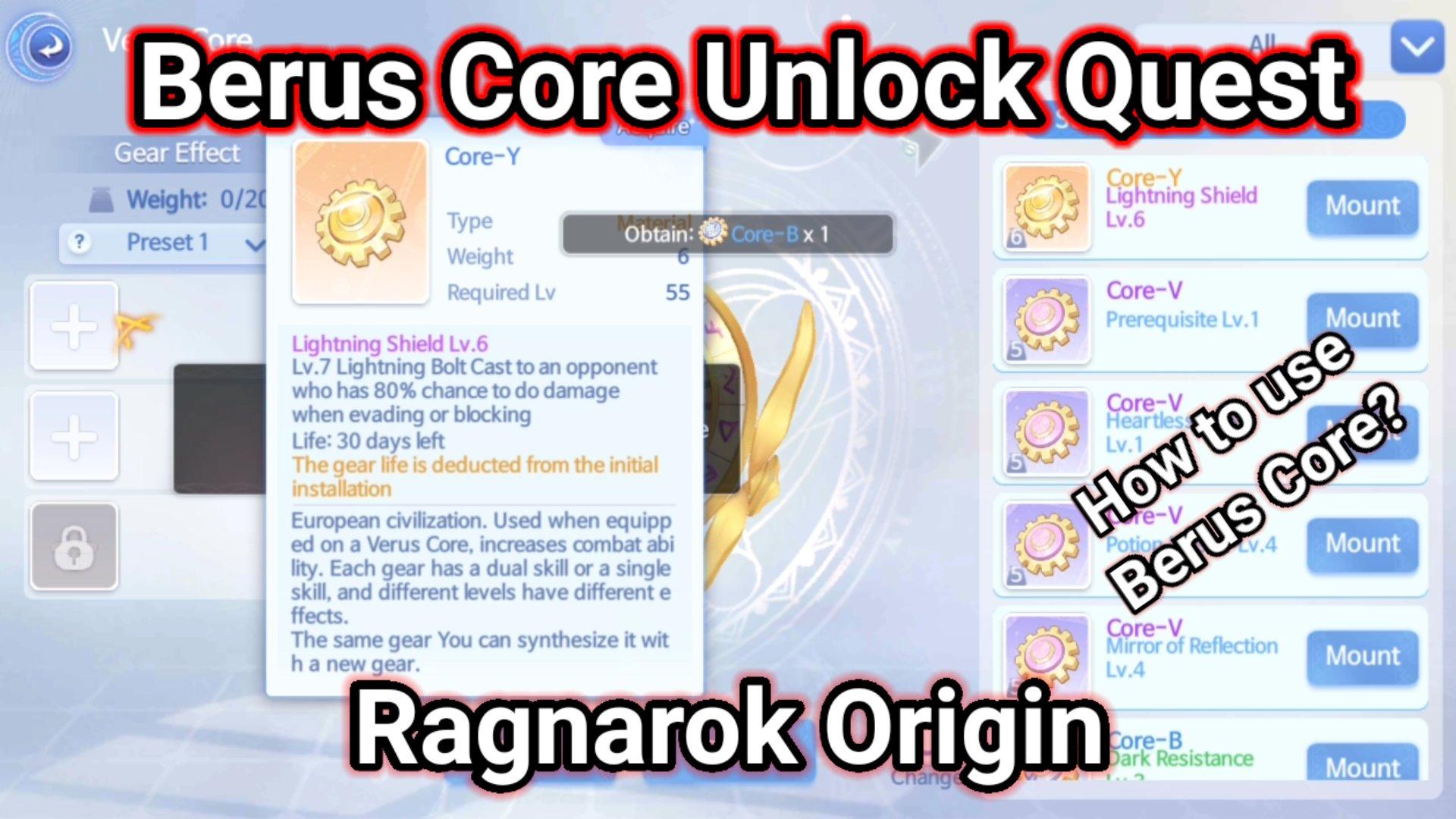 Berus core ragnarok origin