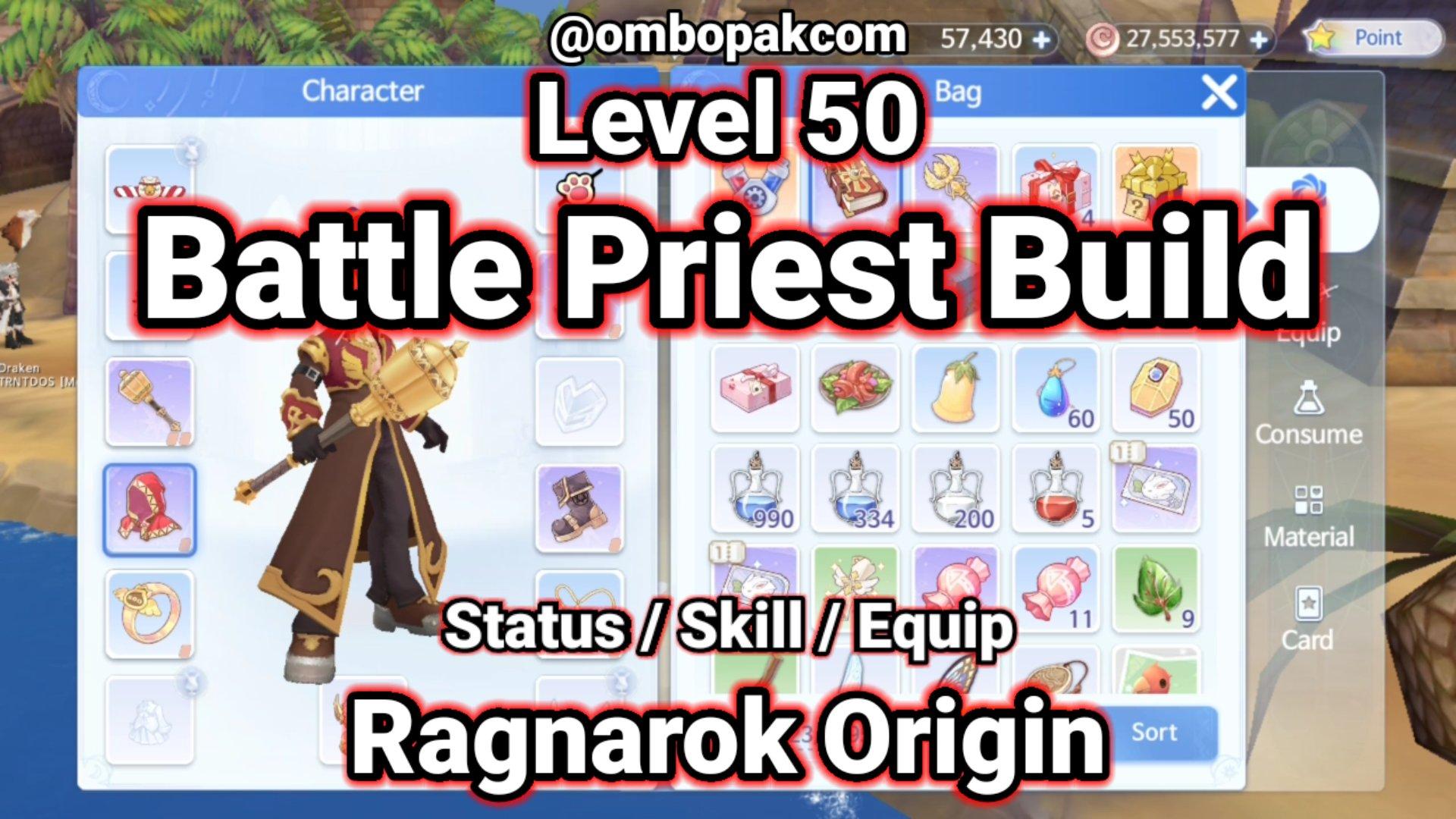 Level 50 Battle Priest Build Ragnarok Origin ラグオリ | 라그나로크 오리진 1