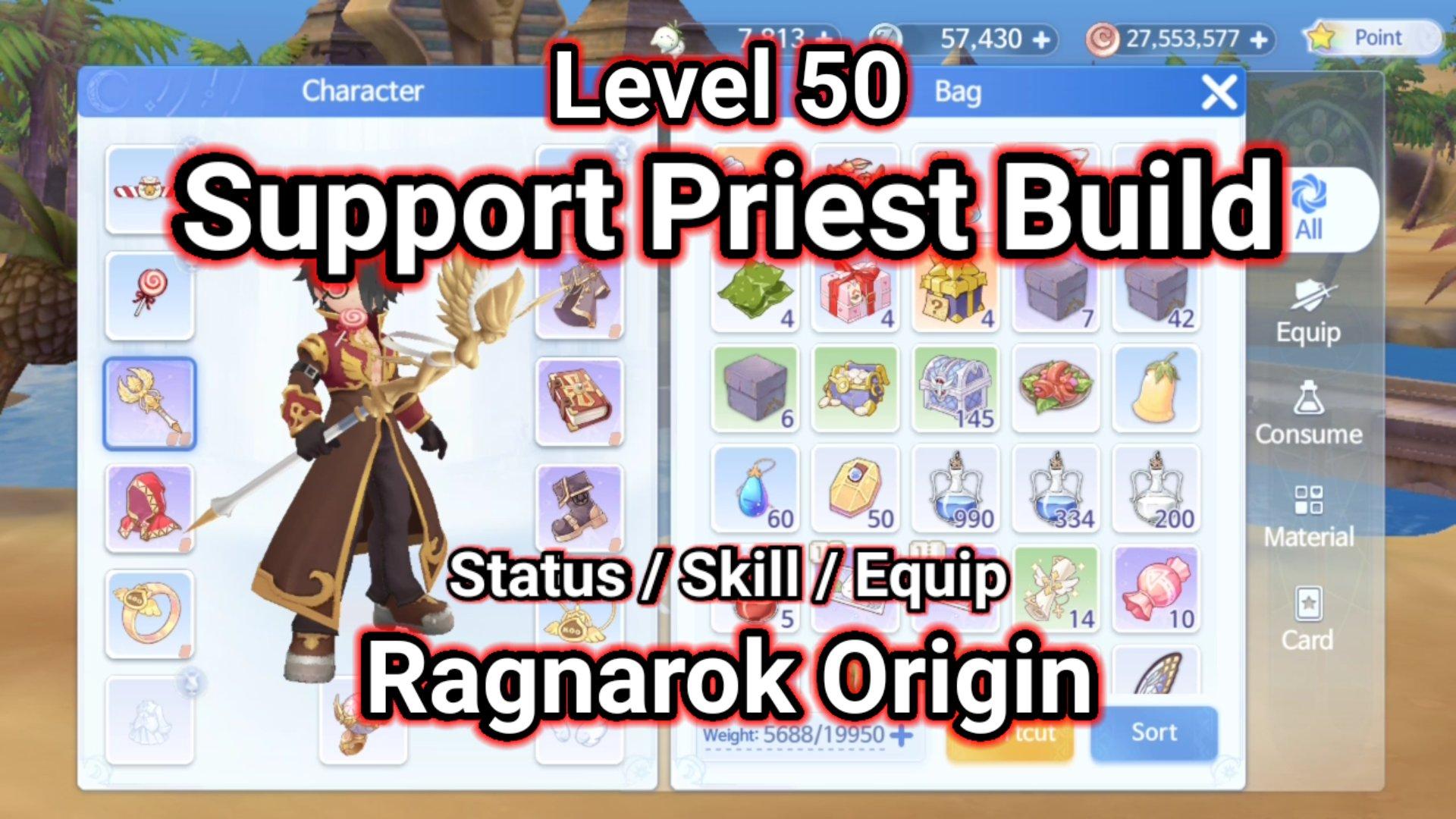 Level 50 Support Priest Build Ragnarok Origin ラグオリ   라그나로크 오리진 1